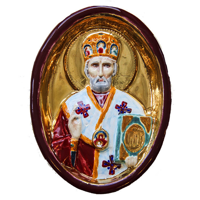 Medallion icon of St. Nicholas the Wonderworker