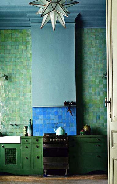 Плитка для кухонь сине-зеленая