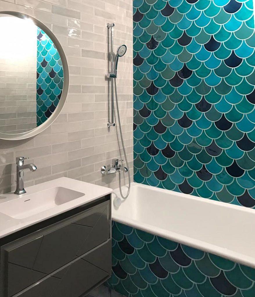 Фоновая керамическая плитка из каталога студии Плакарт для ванной комнаты