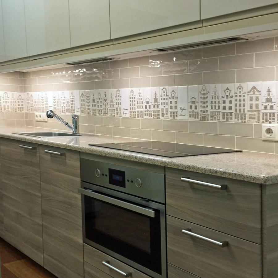 Плитка ручной работы для кухни бежевая